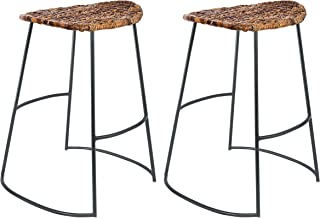 BirdRock Home Industrial Seagrass Counter Stools - Hand Woven - Metal Frame - 24 inches - Set of 2 - Kitchen Island Stool - Counter Height - Backless