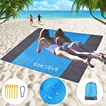 Smartideal Beach Blanket, Update Extra Large Oversized 10'X 9' for 7 Adults Sand Free Beach Mat, with 6 Anchor Stakes, Compact, Lightweight Outdoor Family Mat for Beach, Caming, Hiking