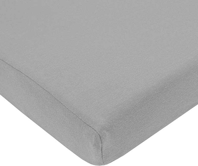 TL Care Supreme 100 Natural Cotton Jersey Knit Mini Crib Sheet Gray 24 X 38 Soft Breathable For Boys And Girls