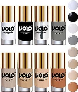 Volo High-Shine Long Lasting Non Toxic Professional Nail Polish Set of 8 (Matte White, Black, Extra Shine Top Coat, Grey, Nude Tude)