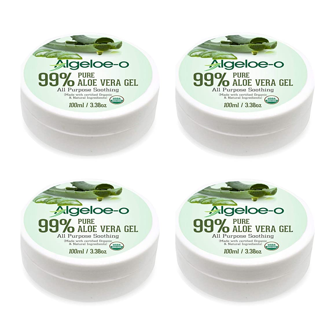 劇作家ドナー一貫したAlgeloe-O? Organic Aloe Vera Gel 99% Pure Natural made with USDA Certified Aloe Vera Powder Paraben, sulfate free with no added color 100ml/3.38oz. Pack Of 4