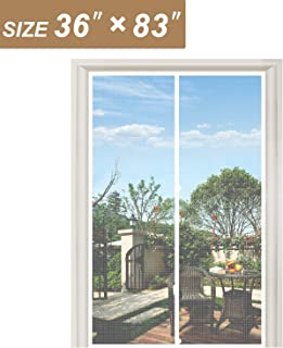 """White Mesh Door Screen with Magnets 36, Fit Doors Size Up to 36""""W x 83""""H with Full Frame Hook&Loop Strip and Special Windp..."""