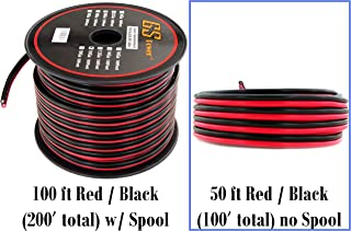 10 Gauge Copper Clad Aluminum 50 ft Red and Black Bonded Zip Wire (100 feet Total) for Car Audio Video LED Light Amplifier Remote Relay Harness Wiring