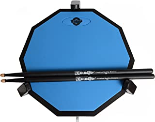 Tromme Drum Practice Pad & Carrying Case – 12 Inches – Two-Sided Silicone – Wooden Base with Real Drum Feel – Practice Quietly -Sticks and Stand NOT INCLUDED (Blue)