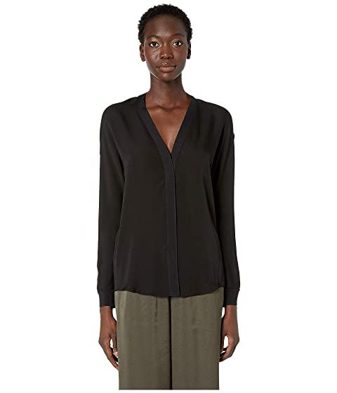 Vince Rib Trim Silk V-Neck