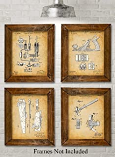 Original Woodworking Tools Patent Prints - Set of Four Photos (8x10) Unframed - Makes a Great Gift Under $20 for Carpenters and Woodworkers