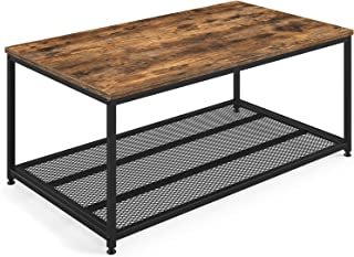 BallucciIndustrialCoffeeTable with Storage Shelf,Wood FurnitureAccentwith MattedMetal Frame,Sturdy Metal Mesh,for Living Room,EasyAssembly,RusticBrown