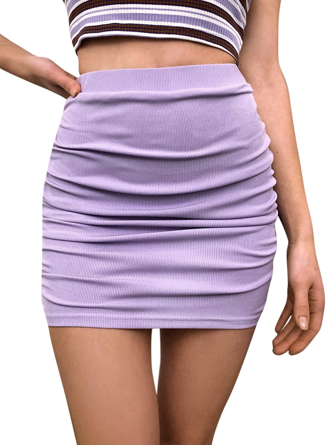 Milumia Women High Waist Ruched Bodycon Mini Skirt Ribbed Knit Solid Pencil Skirt