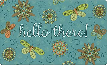 "Toland Home Garden 830348 Hello Flowers and Butterflies- Blue 18"" x 30"" Recycled Mat, USA Produced"