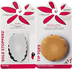 Foot Petals - Tip Toes 3 Pair Pack & Sole Stoppers 2 Pair Pack Combo