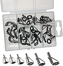 Fishing Rod Tips Repair Kit Silver Fishing Rod Tip Guides Ceramic Rings of Different Sizes 3.0-4.5mm 30Pcs