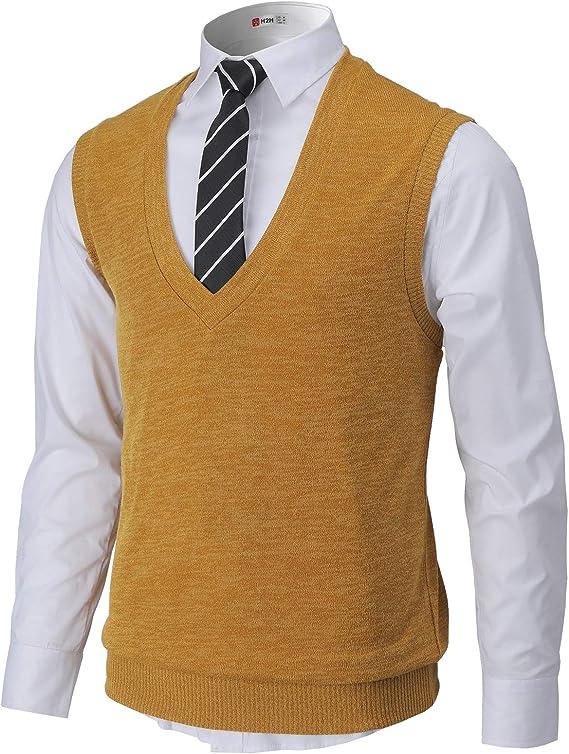 70s Jackets, Furs, Vests, Ponchos H2H Mens Casual Slim Fit Pullover Sweaters Vest Lightweight Knitted Thermal Basic Designed  AT vintagedancer.com