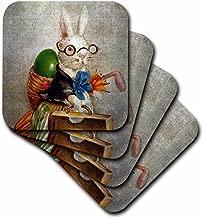 3dRose cst_178099_1 Vintage Easter Bunny in Glasses Digital Art-Soft Coasters, Set of 4