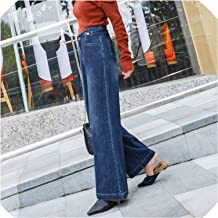 Denim Wide Leg Pants Autumn and Winter Loose Retro Dark Blue Straight Trousers high Waisted Jeans