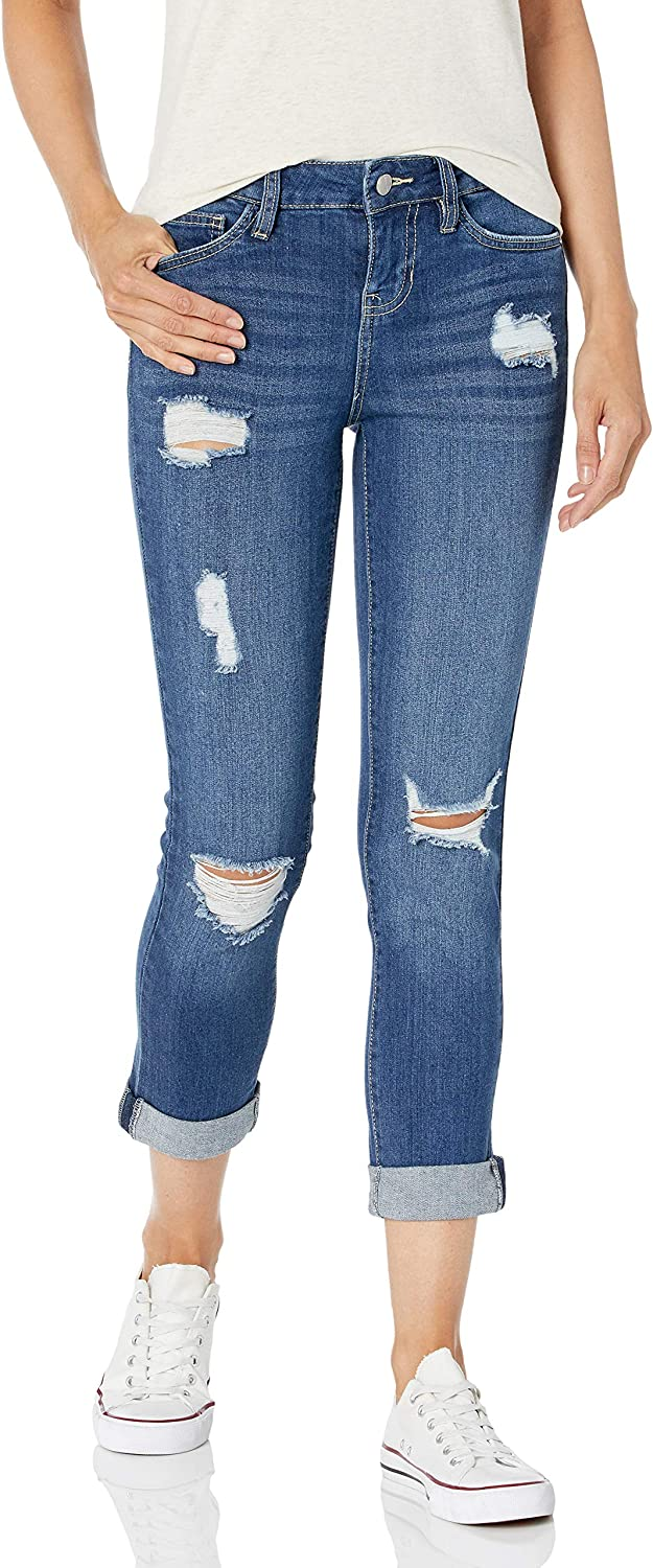 dollhouse Womens Cuffed Cropped Jeans