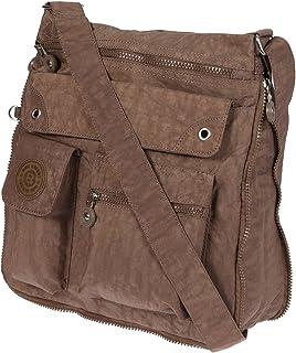 Christian Wippermann Umhängetasche Schultertasche Damen Tasche aus Crinkle Nylon Braun