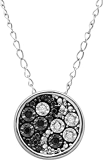 Teeny Tiny Yin & Yang Pendant Necklace with Black & White Diamonds in Sterling Silver