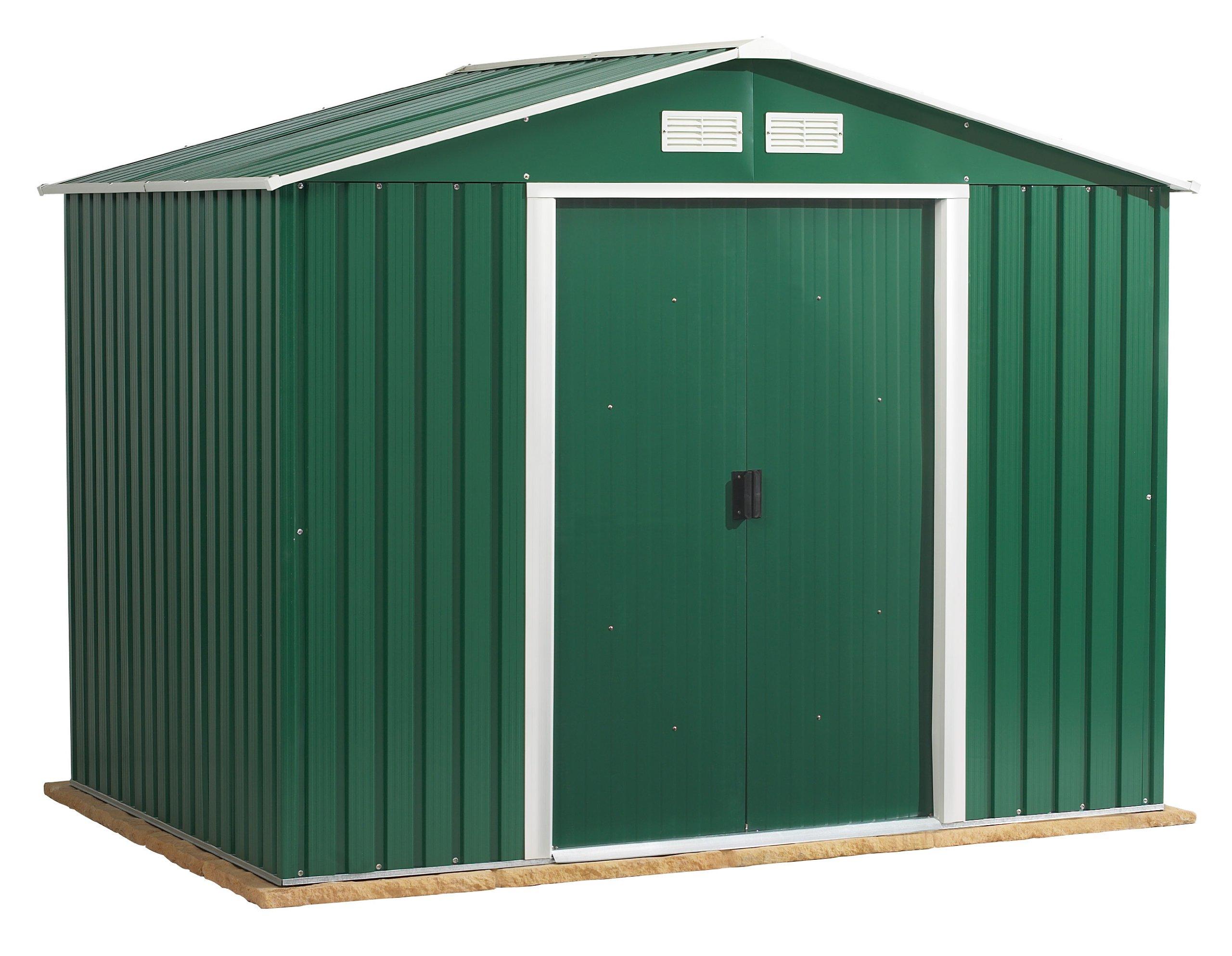 Rosedale 8 pies x 8 pies metal cobertizo, Apex techo, con puertas correderas, 10 años de garantía: Amazon.es: Hogar