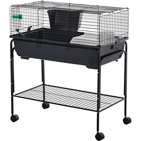 PawHut Small Animal Cage Deluxe Pet Habitat Rolling Rabbit Hutch for Bunny Guinea Pig Pet Mink Chinchilla with Detachable Stand Storage Shelf Accessories