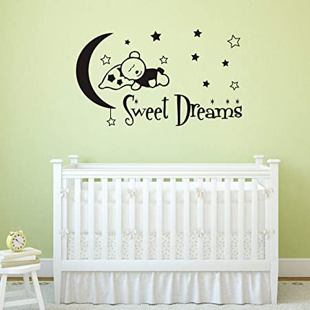 Elephant Sweet Dream Wall Decals Moon and Star Wall Stickers Colorful Decals for Kids Bedroom Decor Nursery Wall Decals Wall Decals Kids A93 Colorful