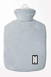 L&L Hot Water Bottle with Fleece 1 Liter hot Water Bag Great for Pain Relief, Hot Compress and Heat Therapy (Blue))
