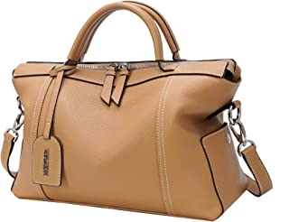Heshe Leather Shoulder Handbags for Womens Designer Satchel Ladies Purses Totes Work Bag Top-handle Bags Crossbody Bag