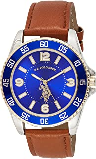 U.S. Polo Assn. Men's Analog-Quartz Watch with Leather-Synthetic Strap, Brown, 20 (Model: USC50479)