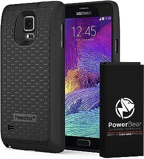 PowerBear Batería Extendida Compatible para Samsung Galaxy Note 4 [7.500mAh], Cubierta Trasera y Carcasa Protectora (hasta 2.3X de Potencia de Batería Adicional) - Negra [24 Meses de Garantía]