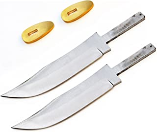 Whole Earth Supply (Set of 2) Skinner Skinning Blade Blank Knife Making Knives Stainless Steel +Guard BL7823