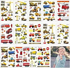 CIEOVO Fun Constructions Excavator Fire Truck Temporary Tattoos Small Fake Tattoo Stickers Party Favors Construction Vehicle Theme Birthday Party Supplies Tattoos Stickers