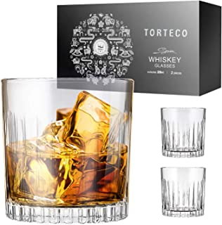 Whiskey Glass Set of 2 - Torteco Classis Crystal Scotch Glasses 10 Ounce Lead-Free Glassware with Luxury Gift Box