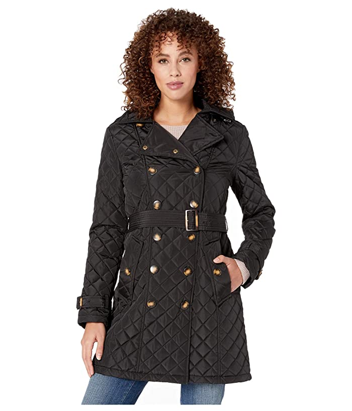 Calvin Klein Double Breasted Belted Quilt with Hood (Black) Women
