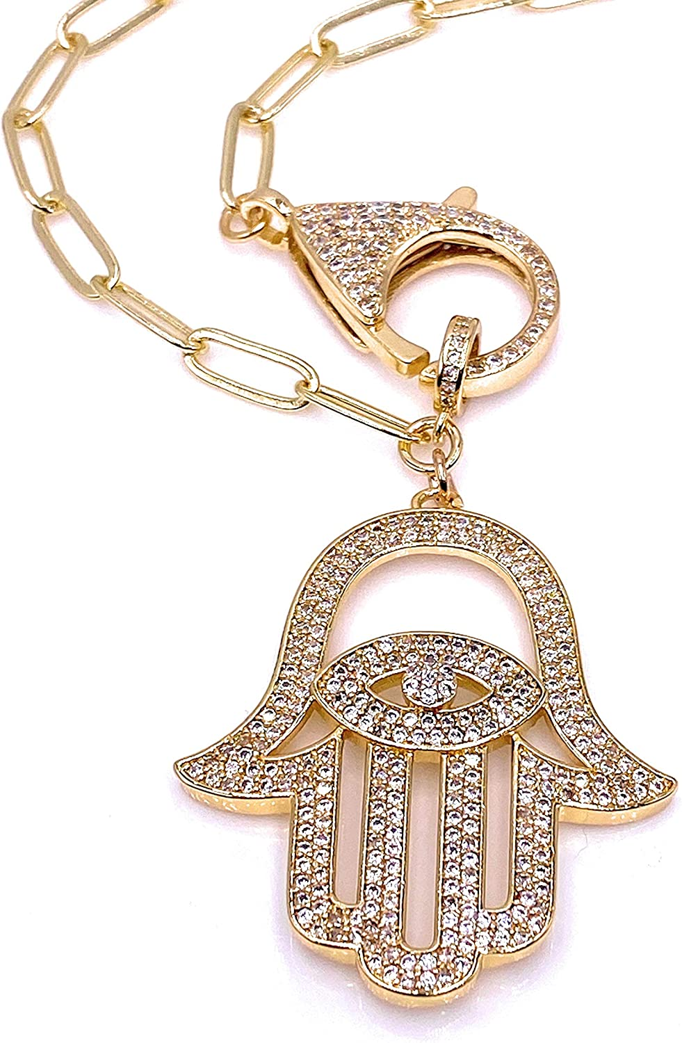 Stunning Gold Hamsa Hand Necklace for Women 18K Gold Plated Chain Protection Jewelry