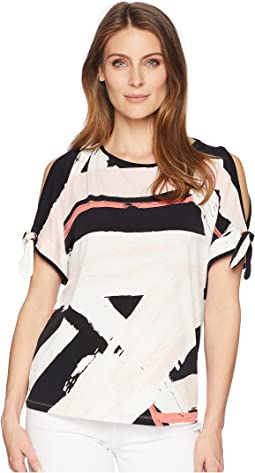 Printed Cold Shoulder Top with Open Hem