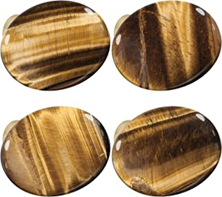 mookaitedecor Set of 4 Tiger's Eye Crystal Cabinet Knobs with Screws, Oval Shape Healing Stone Drawer Pull Handles for Dre...