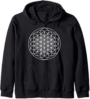 Sacred Geometry Zip Hoodie - Tapestry Hoodie Flower of Life Zip Hoodie
