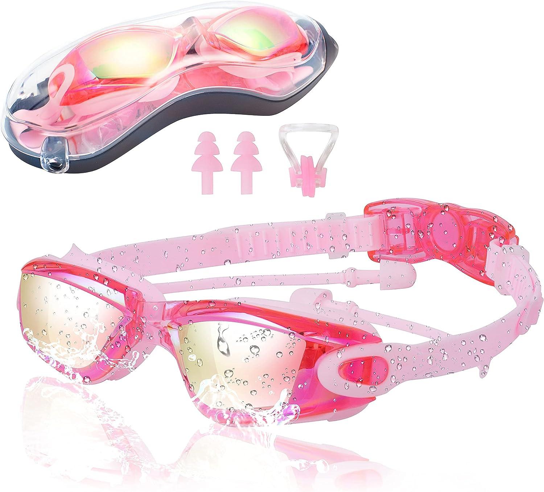 Kids Swim Goggles No Deluxe Leakage Ki for Anti-Fog Year-end annual account suitable Anti-UV