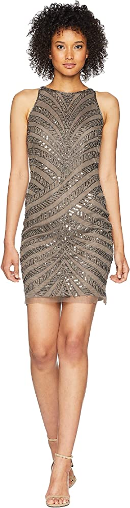 Sleeveless Fully Beaded Short Cocktail Dress