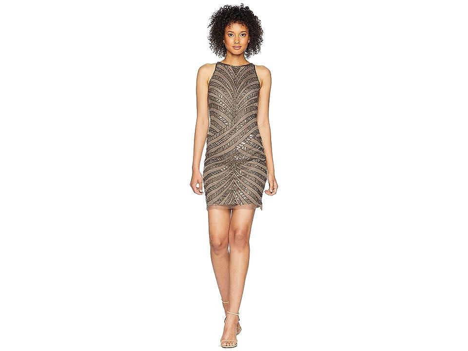 Adrianna Papell Sleeveless Fully Beaded Short Cocktail Dress (Lead) Women