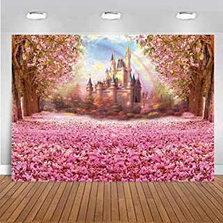 Pink Theme Party Decoration Flower Cherry Blossoms Backdrop Fairytale Princess Castle Backdrop Baby Shower Photo Background for Baby Girl Birthday Party Decoration 7x5FT 003