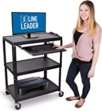 Line Leader Extra Wide AV Cart with Lockable Wheels - Adjustable Shelf Height - Includes Pullout Keyboard Tray and Cord Management (42 x 32 x 20 / Black)