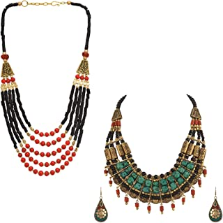 Zephyrr Tibetan Jewelry Multi-Strand Necklaces Drop Earrings Set Ethnic Statement Jewelry For Women, Combo of 2, (Black,Red & Green)
