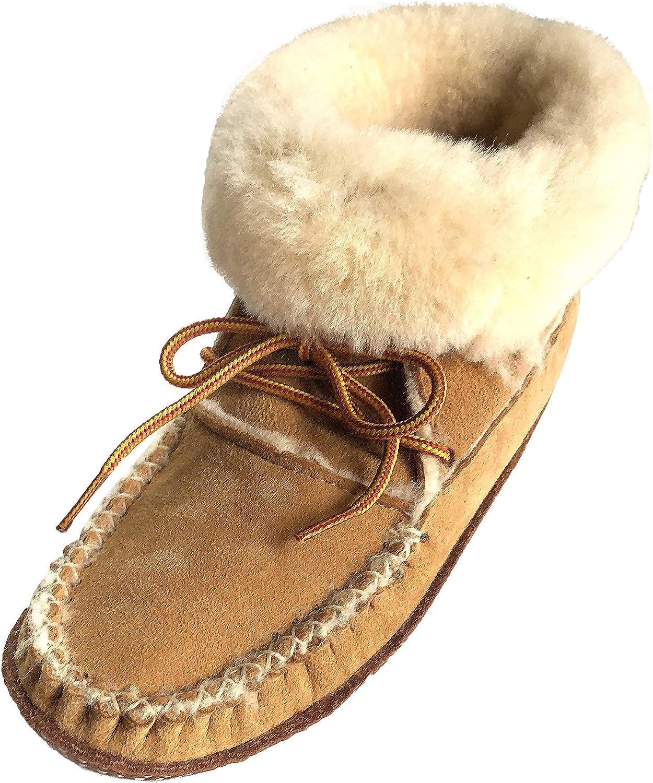 Bastien Industries Women's Sheepskin Ankle Moccasin Slipper Boots