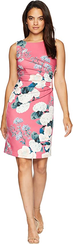 Rounded Neck Sleeveless Floral Dress with Ruched Side