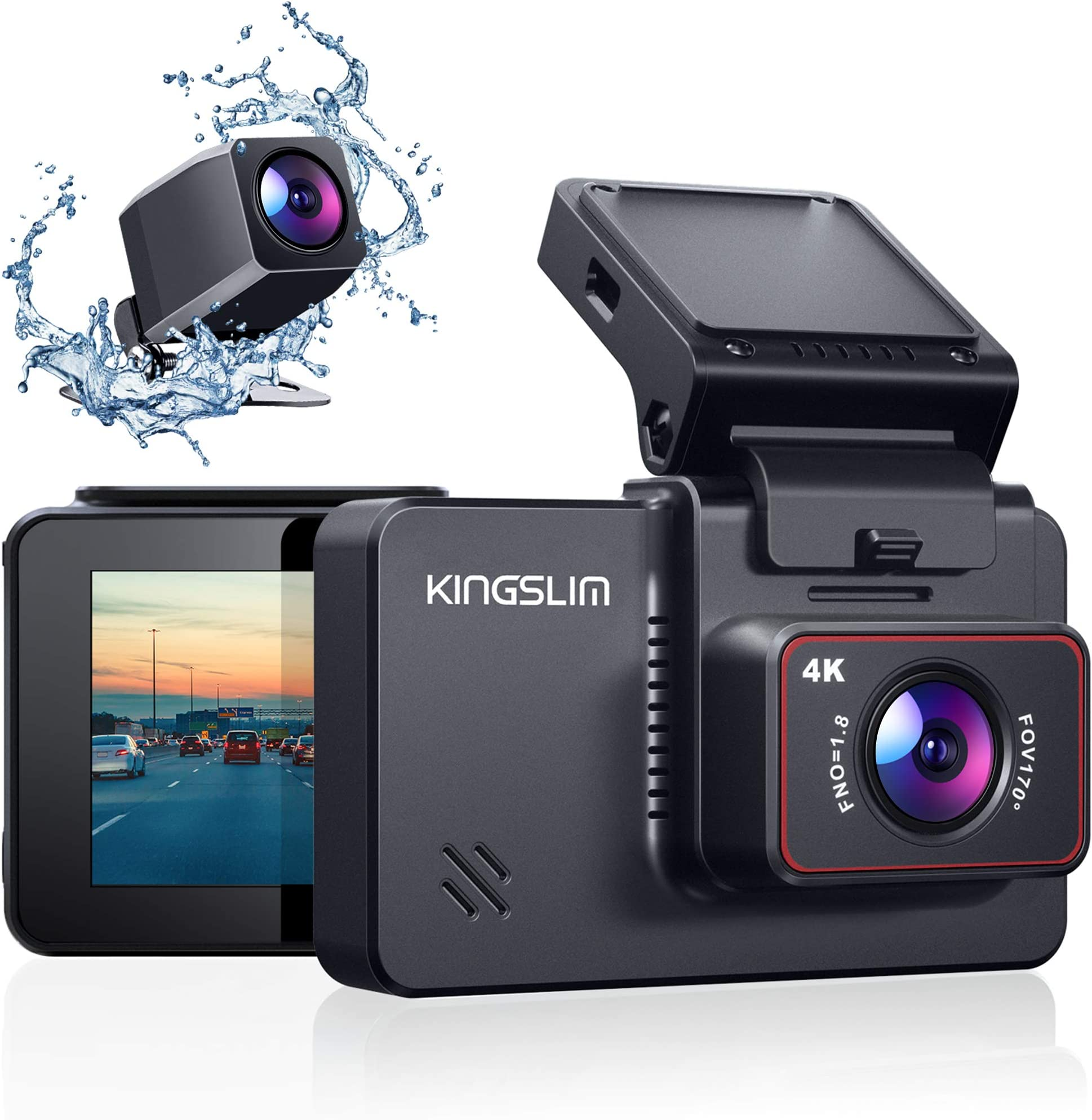 """Kingslim D4 4K Dual Dash Cam with Built-in Wi-Fi GPS, Front 4K/2.5K Rear 1080P Dual Dash Camera for Cars , 3"""" IPS Touchscreen 170° FOV Dashboard Camera with Sony Starvis Sensor, Support 256GB Max"""
