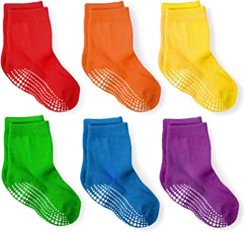 LA Active Athletic Crew Grip Socks Baby Toddler Infant Newborn Kids Boys Girls Non Slip//Anti Skid 6 Pairs