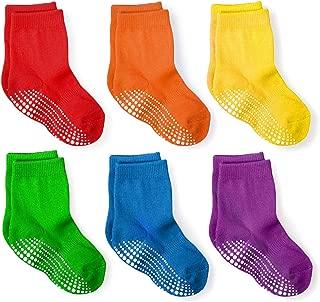 LA Active Athletic Crew Grip Socks - 6 Pairs - Baby Toddler Infant Newborn Kids Boys Girls Non Slip/Anti Skid