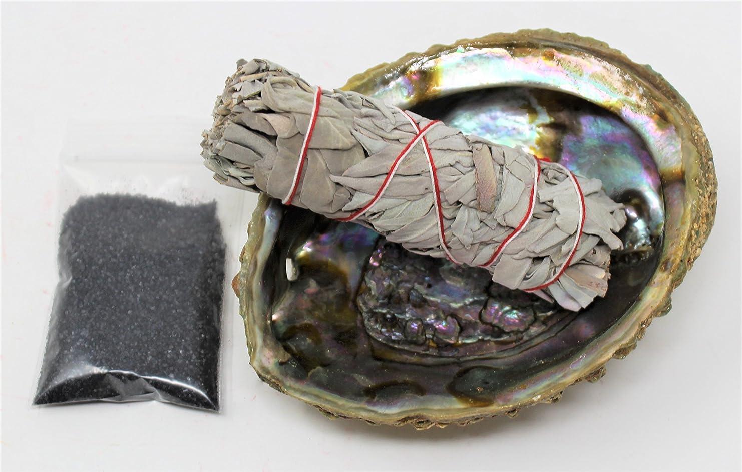 これら経由でつづりセージSmudgeキットwithカリフォルニアホワイトセージ、Large Abalone Shell、ブラックSalt Plus Smudging Directions
