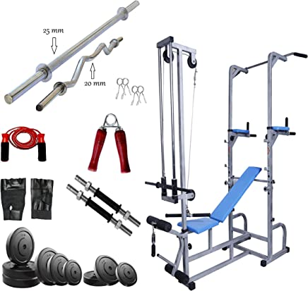 GoFiTPrO PHELIX ABS Tower with 20 in 1 Bench+ 20 Kg Rubber Weight + 5 and 3 FT Rod (20, 25 mm)