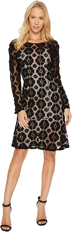 Adrianna Papell - Textural Floral and Dot Lace Sheath Dress with Flounce Hem
